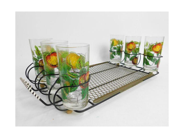 Vintage Serving Trays with Tumbler Glasses