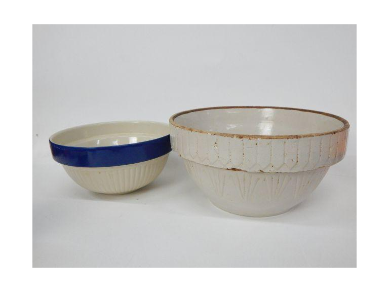 Pair of Old Stoneware Mixing Bowls