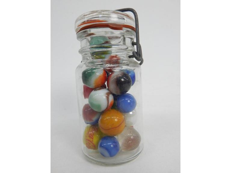 Jar of Marbles with Coca Cola and Pepsi Marbles