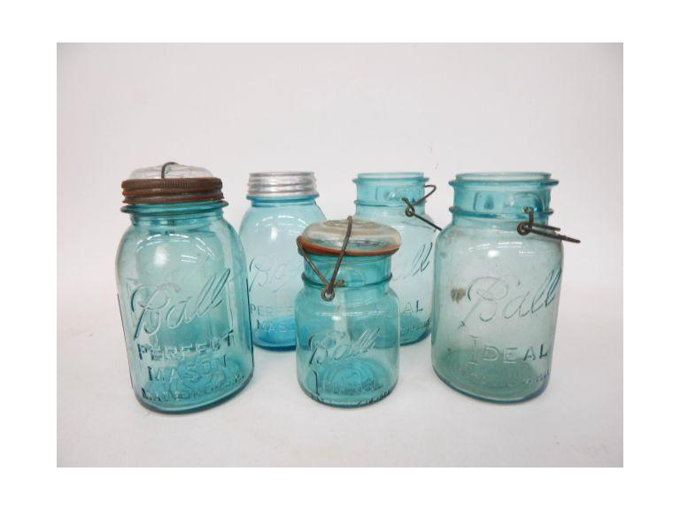 Collection of Blue Glass Canning Jars