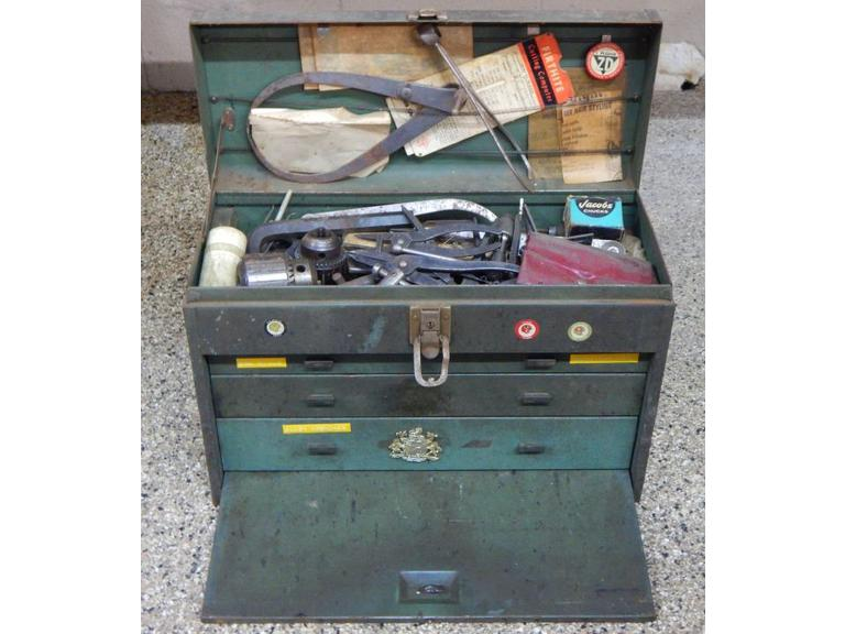 Old Machinist Toolbox Full of Tools