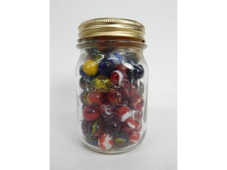 Old Jar of Glass Marbles