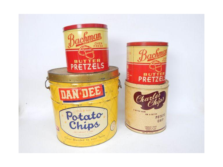 Collection of Old Chip & Pretzel Tins