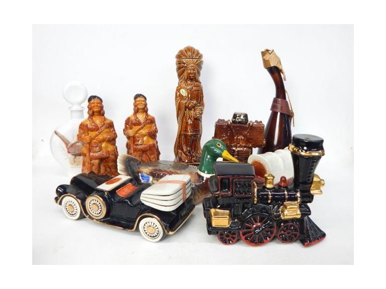 Collection of Vintage Character Liquor Decanters