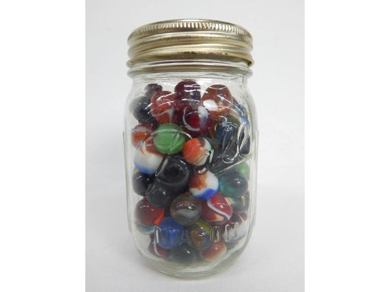 Old Ball Jar of Glass Marbles