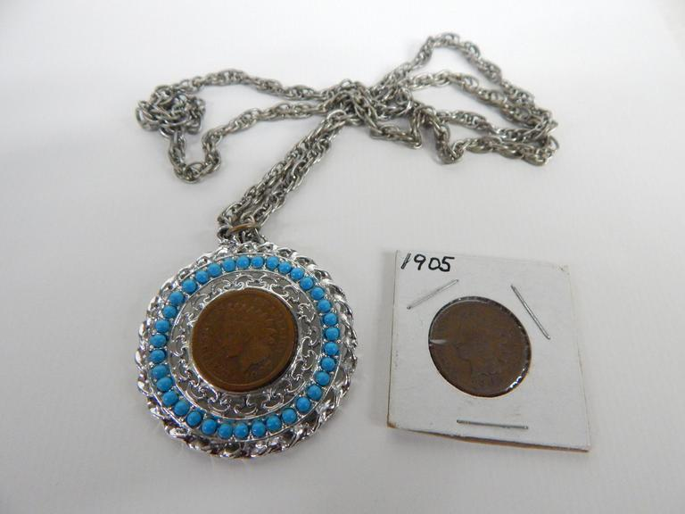 Indian Head Pennies with Necklace