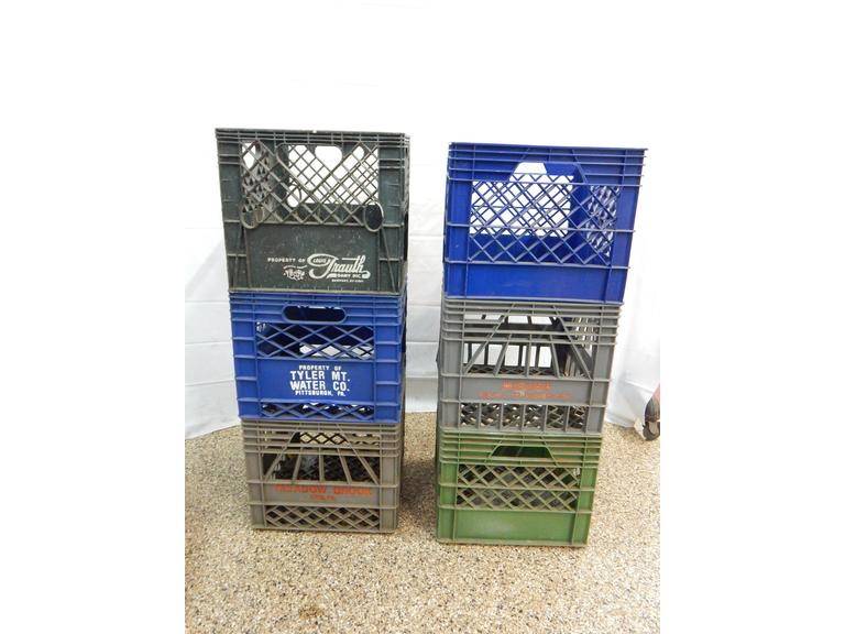 Collection of Plastic Milk Crates