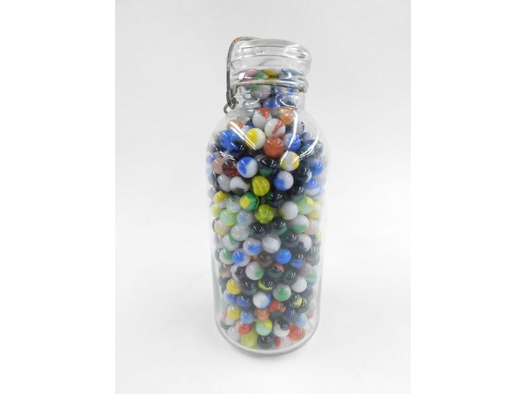 Large Glass Jar of Marbles