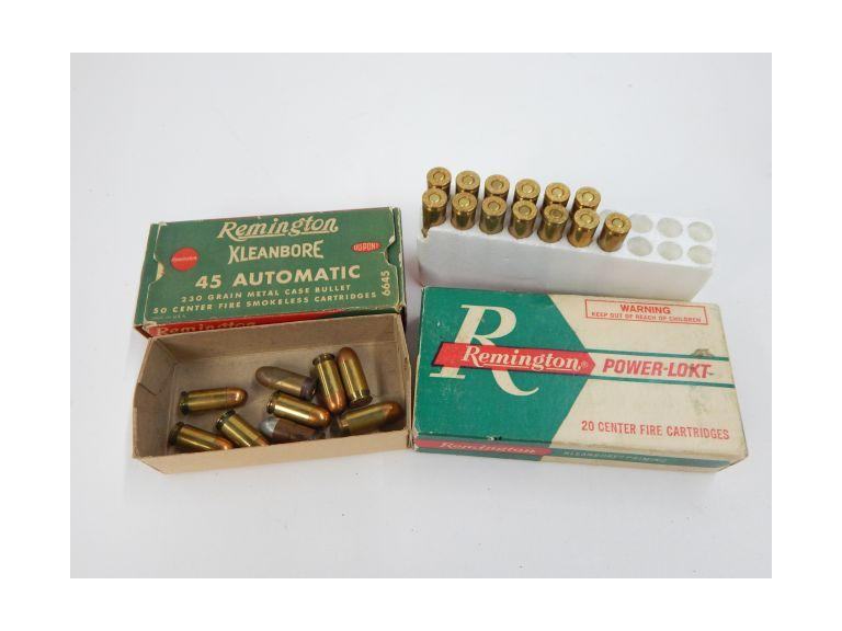 22/250 Remington and 45 Automatic Cartridges