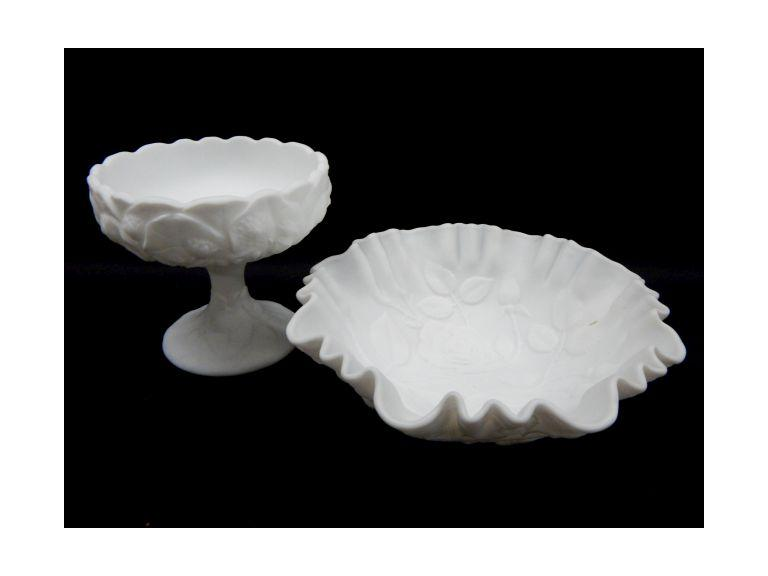 Fenton Art Glass Bowl and Compote