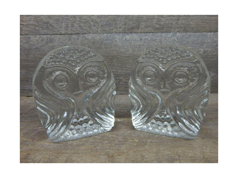 Glass Owl Bookends