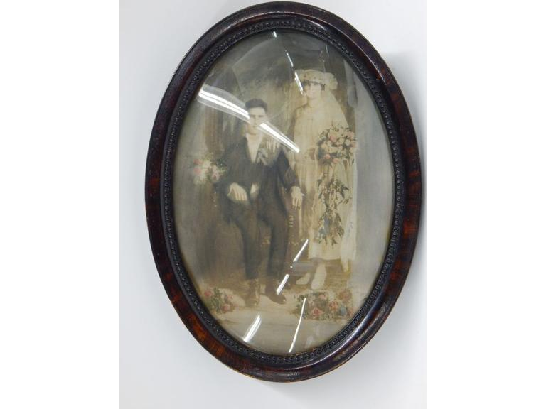 Antique Domed Glass Picture Frame