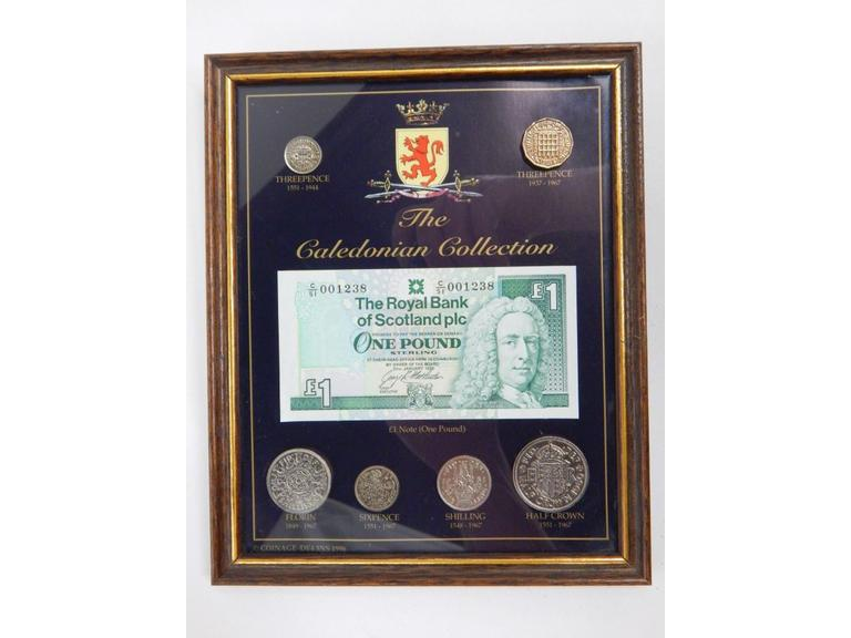 Framed Caledonian Coins and Bill