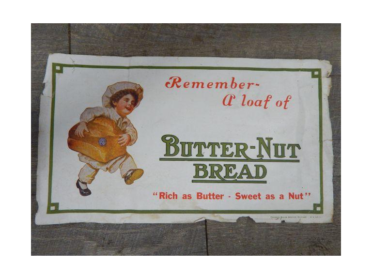 Old Butter-Nut Bread Paper Sign